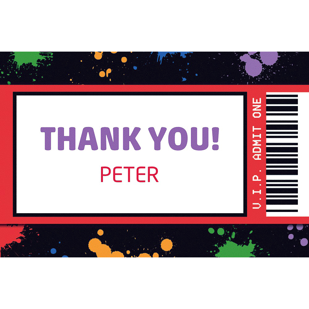 Custom Paintball Ticket Thank You Note Image #1