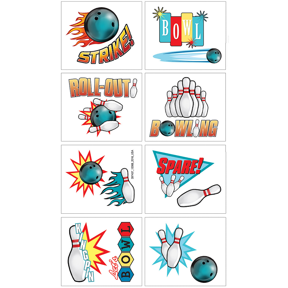 Bowling Tattoos 1 Sheet | Party City