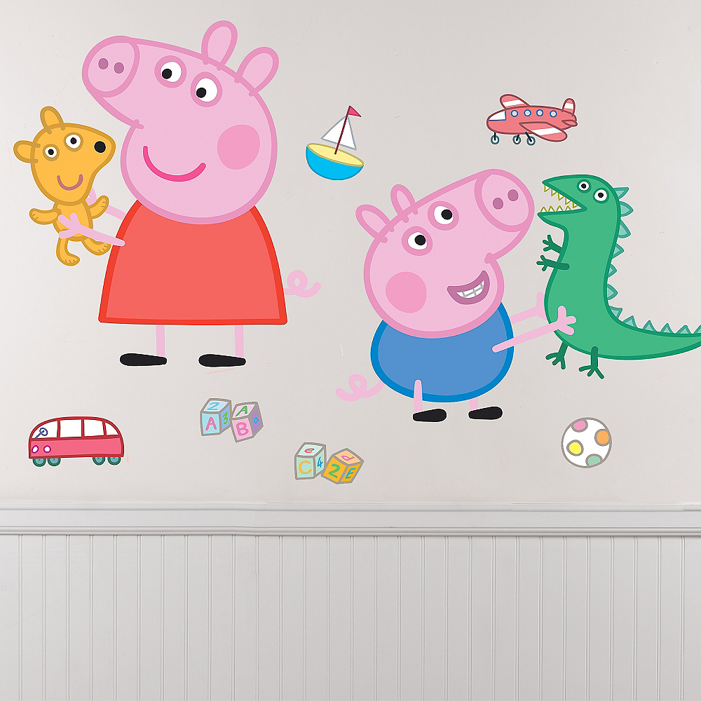 Nav Item for George & Peppa Pig Wall Decals 8ct Image #1