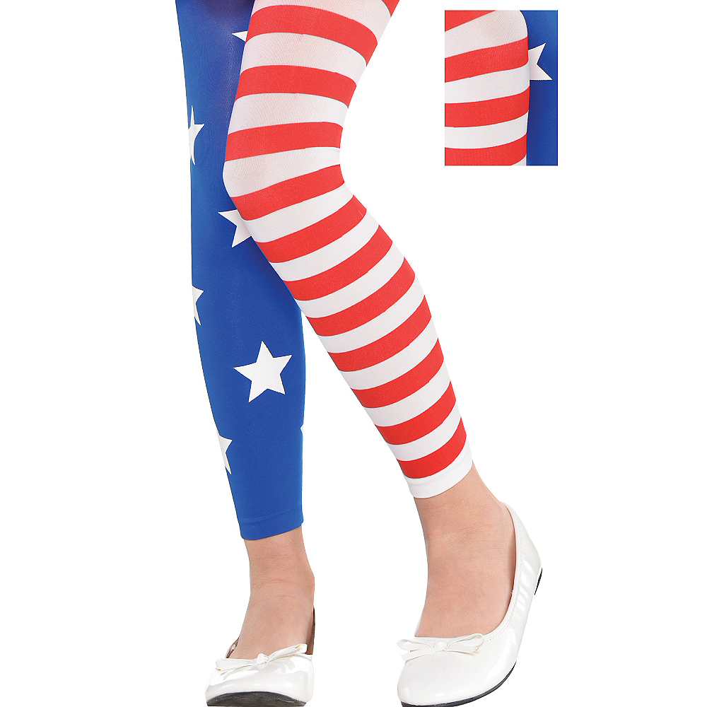 Child Patriotic Footless Tights Image #1