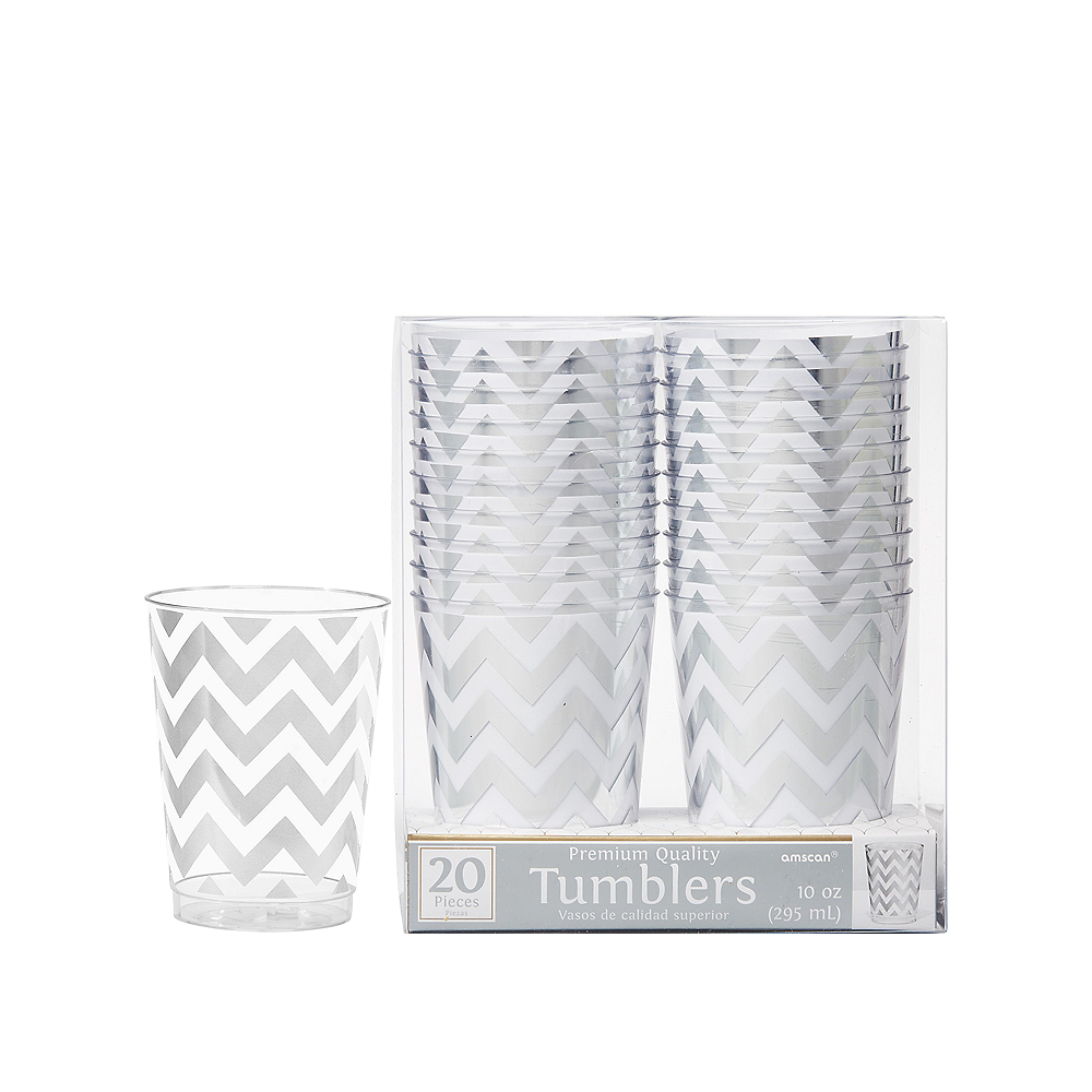Nav Item for Silver Chevron Premium Plastic Cups 20ct Image #1