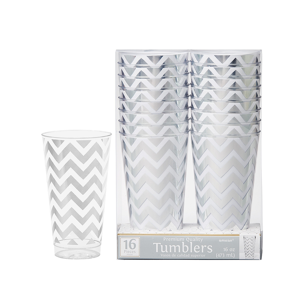 Nav Item for Silver Chevron Premium Plastic Cups 16ct Image #1