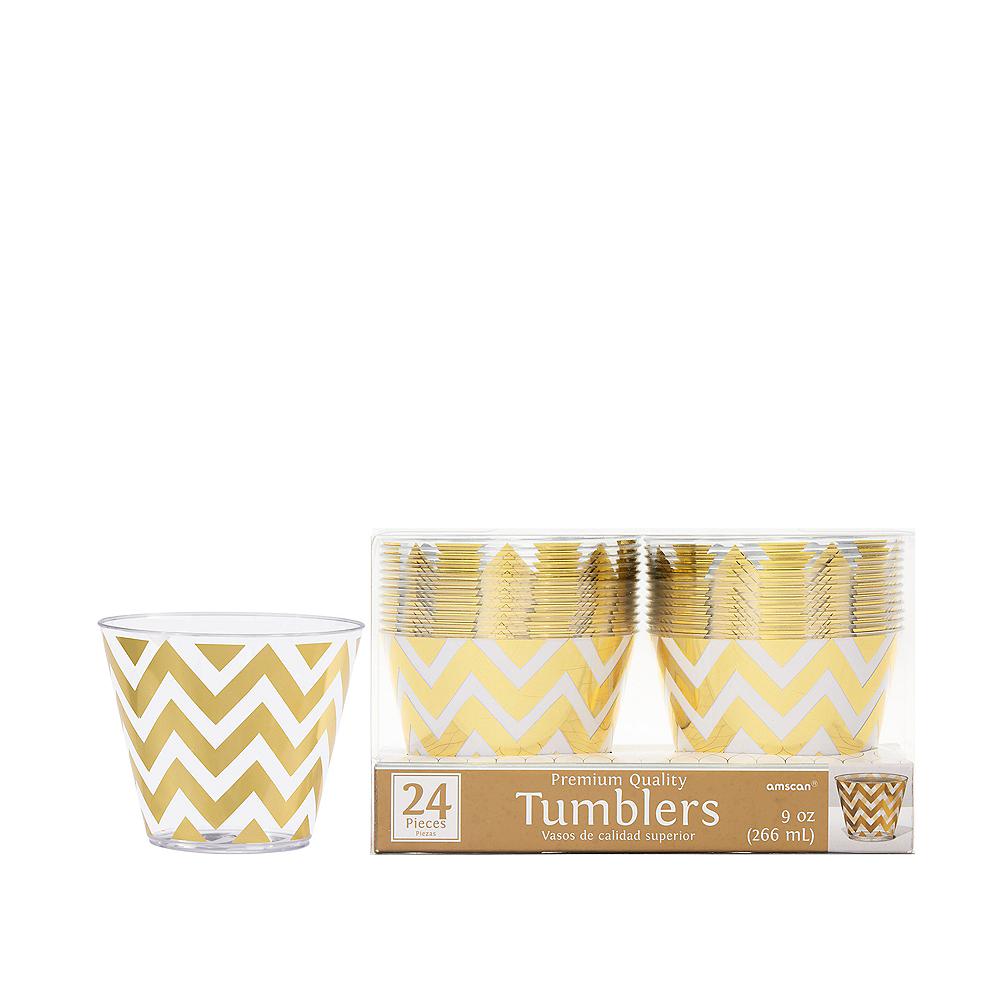 Gold Chevron Premium Plastic Cups 24ct Image #1
