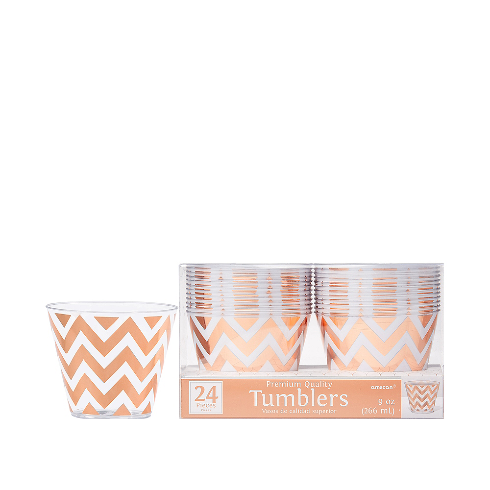Rose Gold Chevron Premium Plastic Cups 24ct Image #1