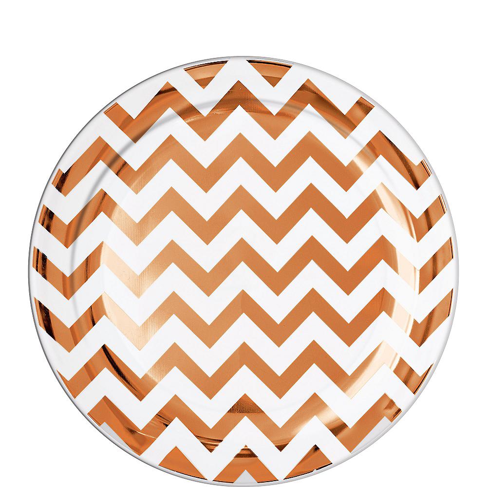 Rose Gold Chevron Premium Plastic Lunch Plates 20ct Image #1