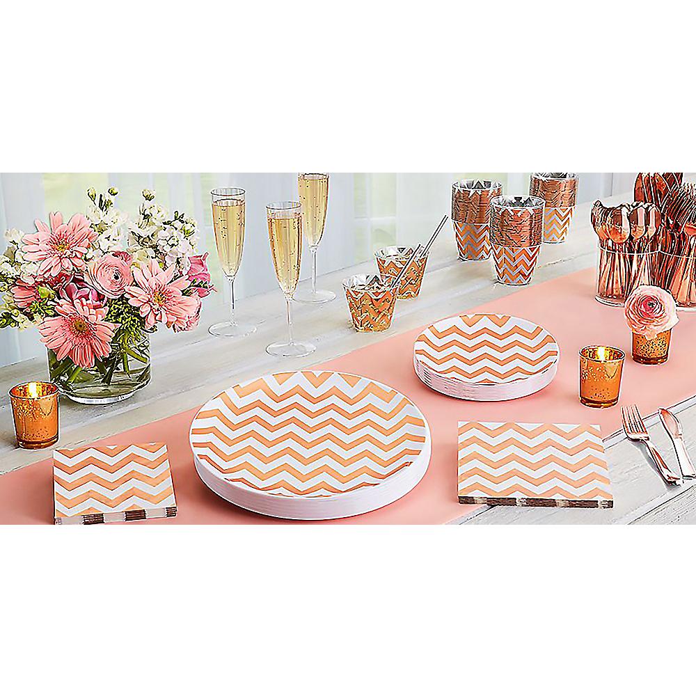 White Rose Gold Trimmed Premium Plastic Dinner Plates 10ct Image #3