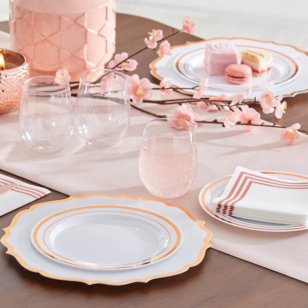 White Rose Gold Trimmed Premium Plastic Lunch Plates 20ct Image #3