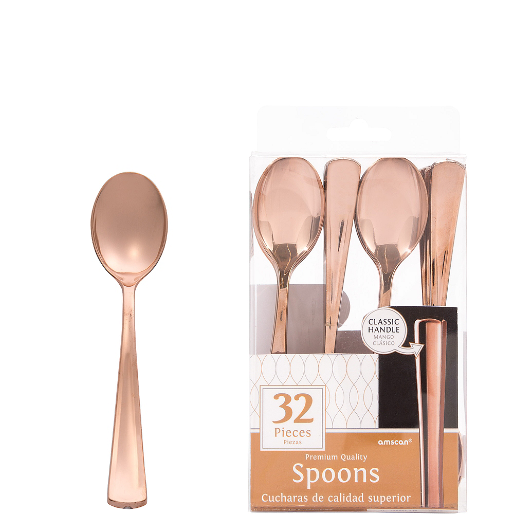 Nav Item for Rose Gold Premium Plastic Spoons 32ct Image #1