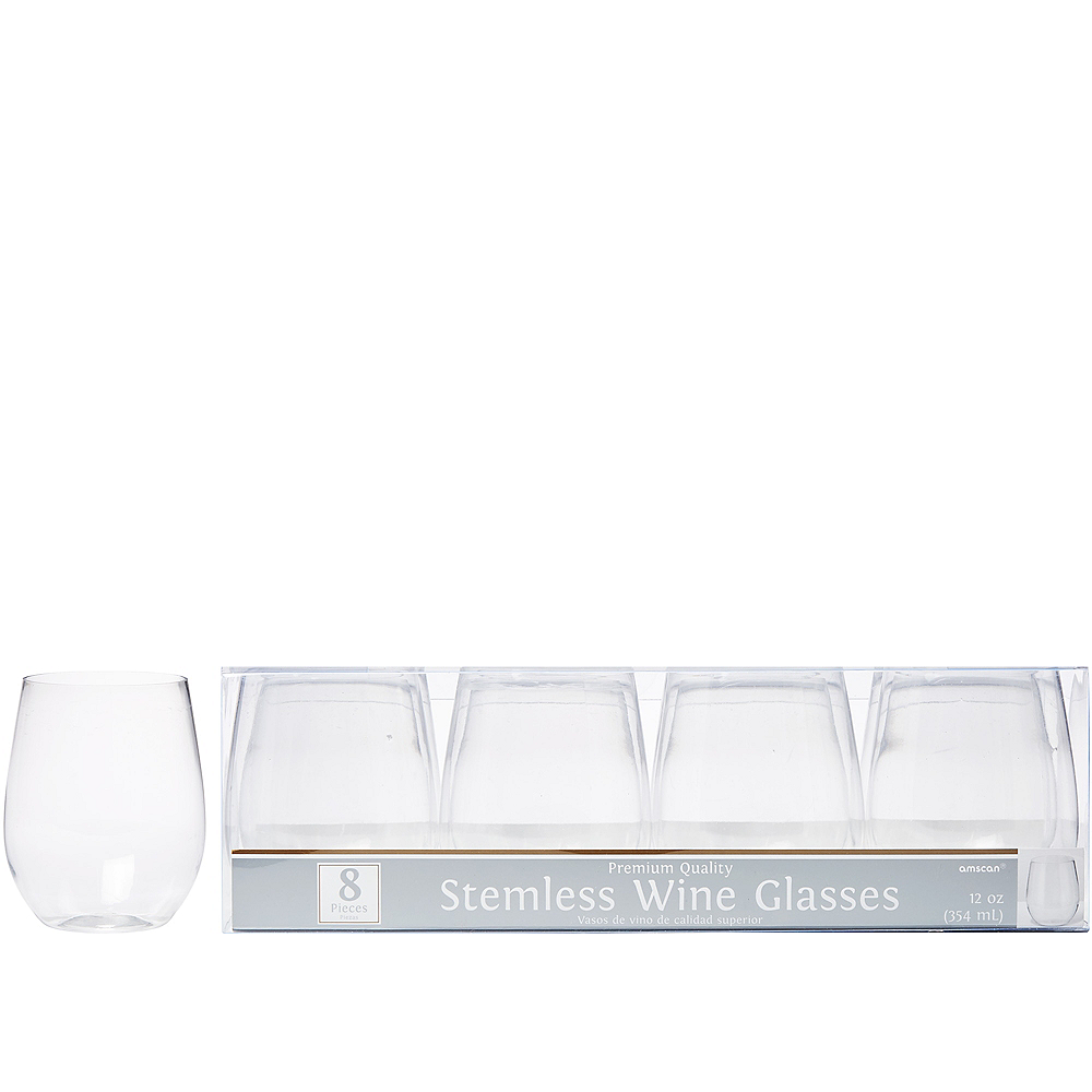 CLEAR Premium Plastic Stemless Wine Glasses 8ct Image #1