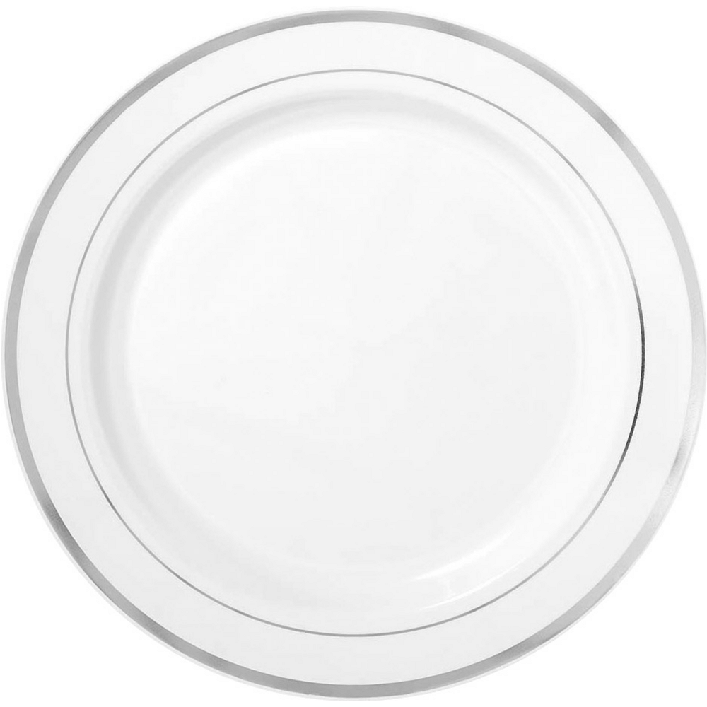 White Silver Trimmed Premium Plastic Buffet Plates 10ct Image #1
