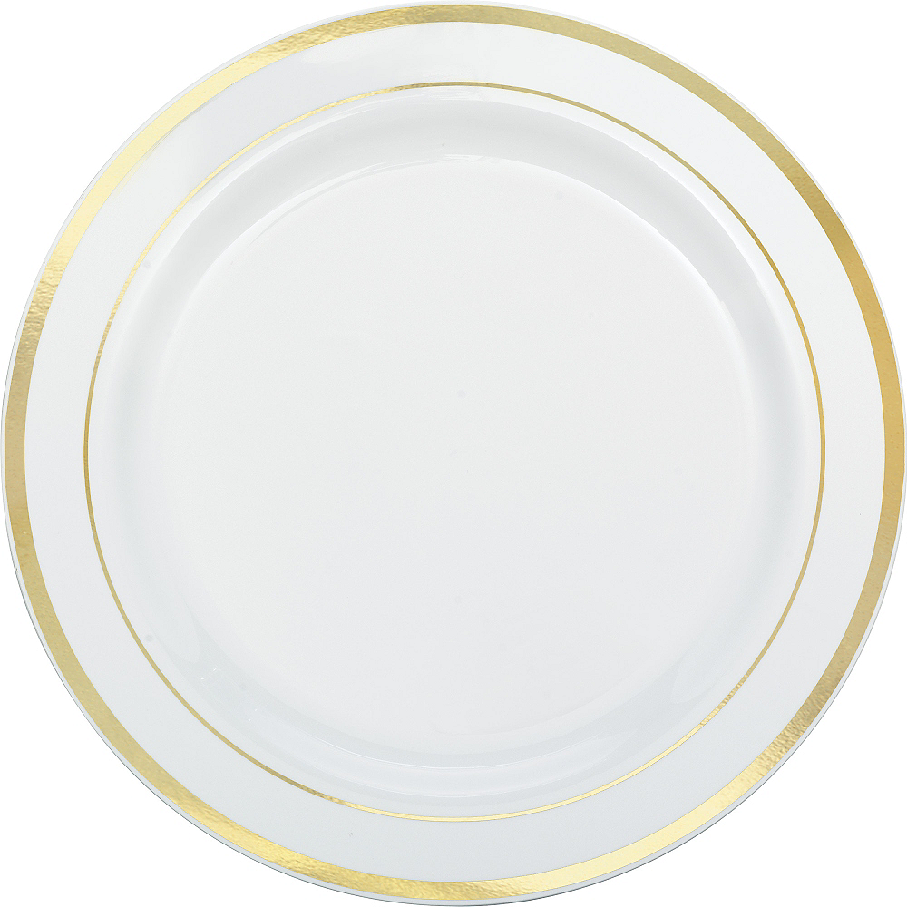 Nav Item for White Gold Trimmed Premium Plastic Buffet Plates 10ct Image #1