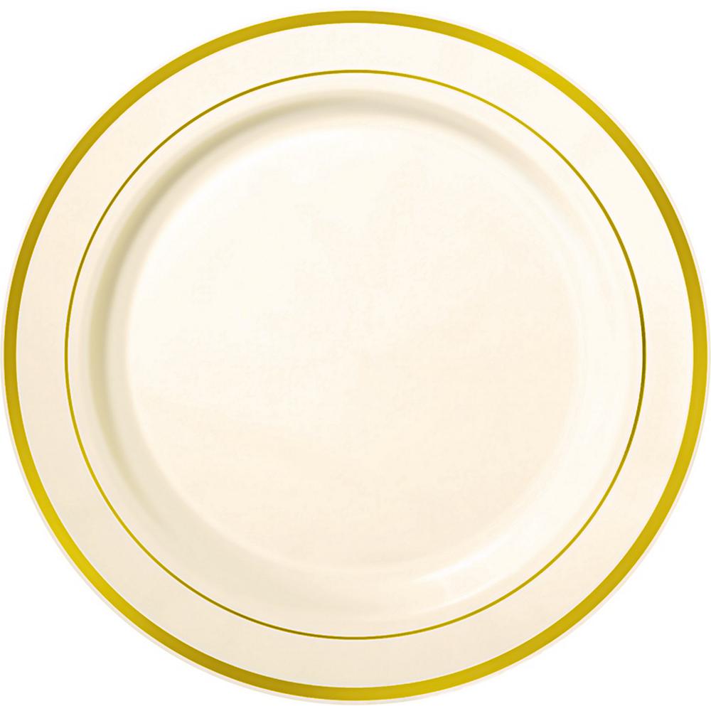 Cream Gold Trimmed Premium Plastic Buffet Plates 10ct Image #1