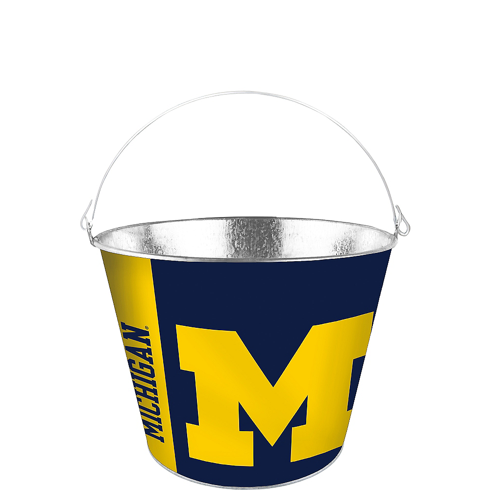 Nav Item for Michigan Wolverines Galvanized Bucket Image #1