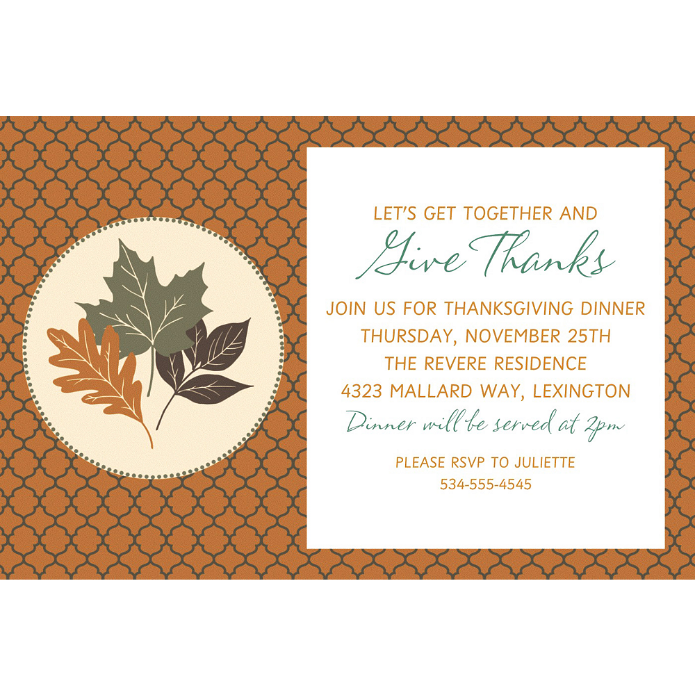 Custom Copper Leaves Invitation Image #1