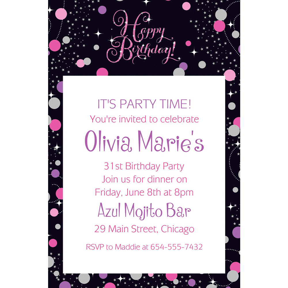 Custom Pink Sparkling Celebration Birthday Invitation  Image #1