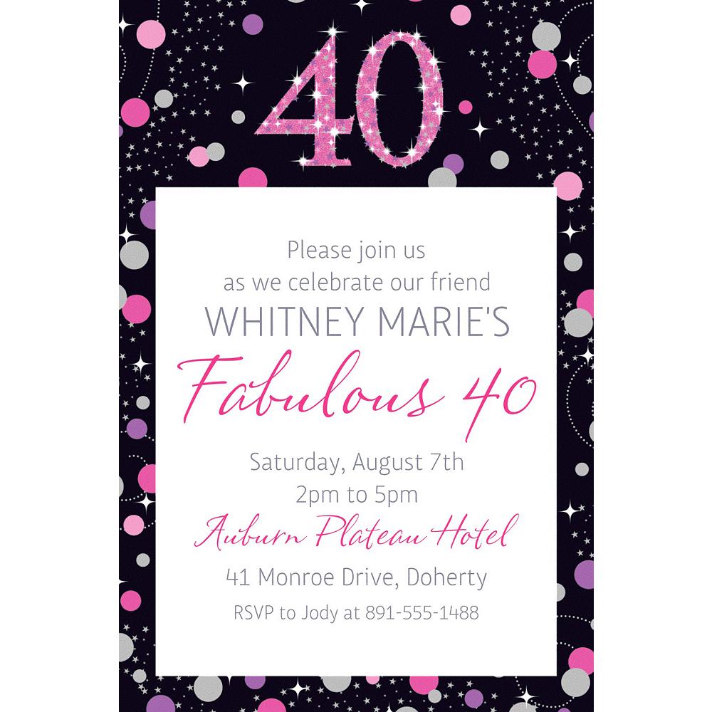 Custom Pink Sparkling Celebration 40 Invitation Image #1