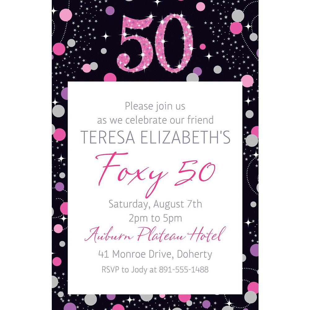 Custom Pink Sparkling Celebration 50 Invitation Image #1