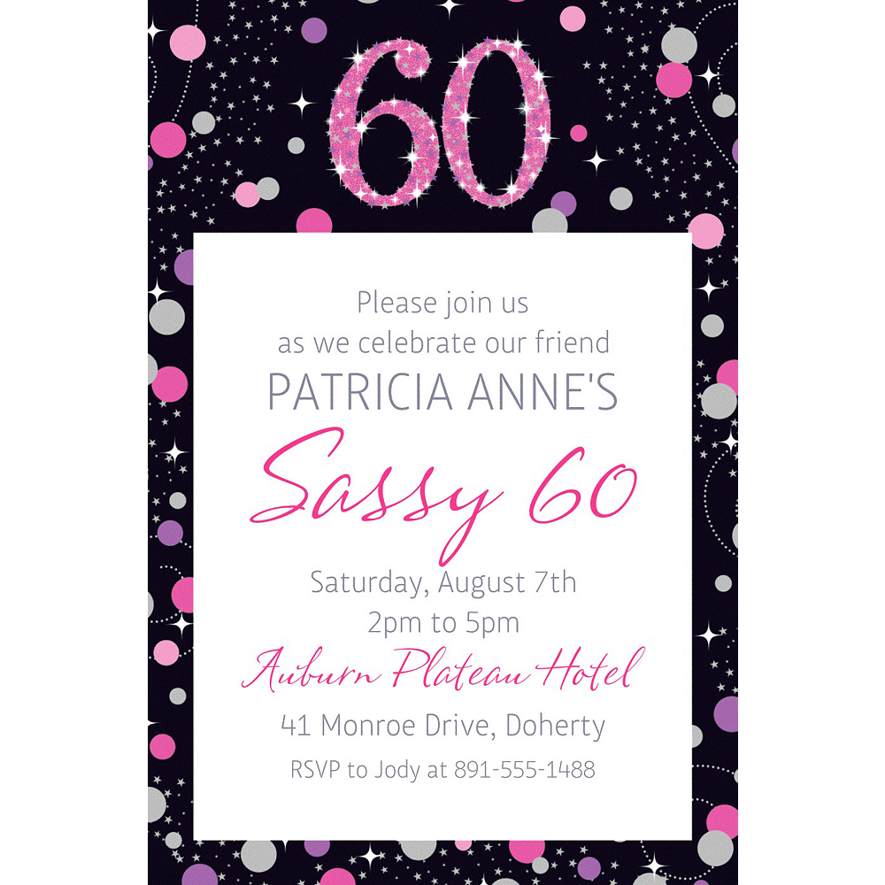 Custom Pink Sparkling Celebration 60 Invitation Image #1