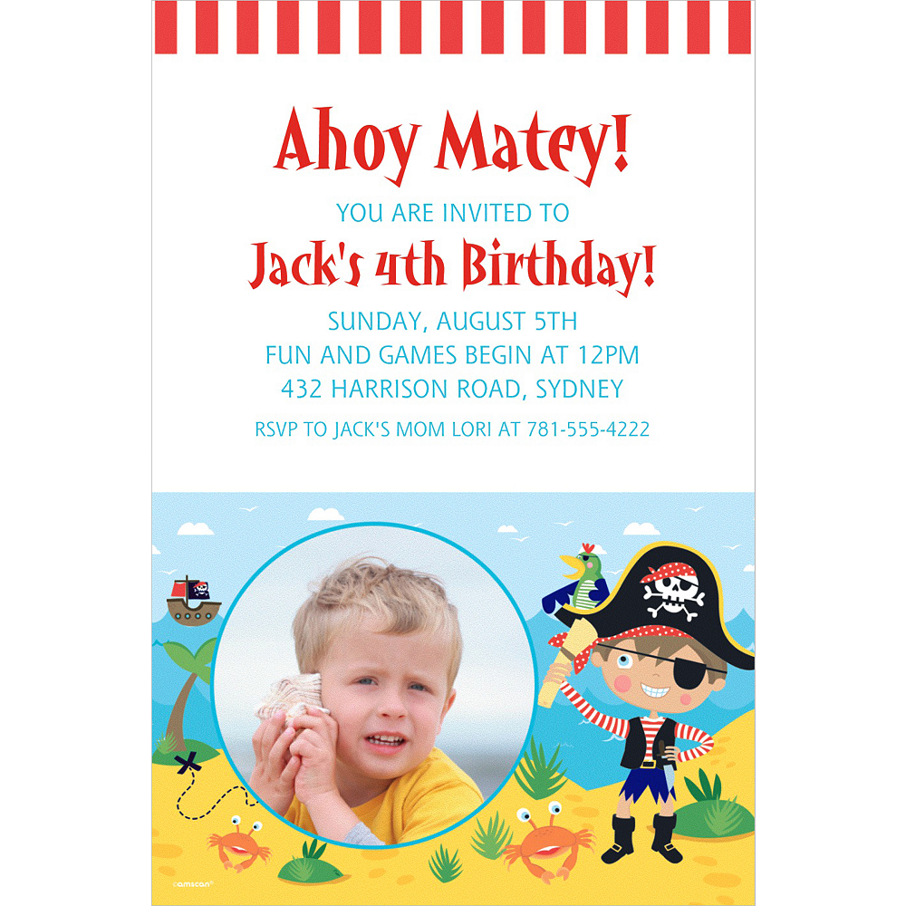Nav Item for Custom Little Pirate Photo Invitation Image #1