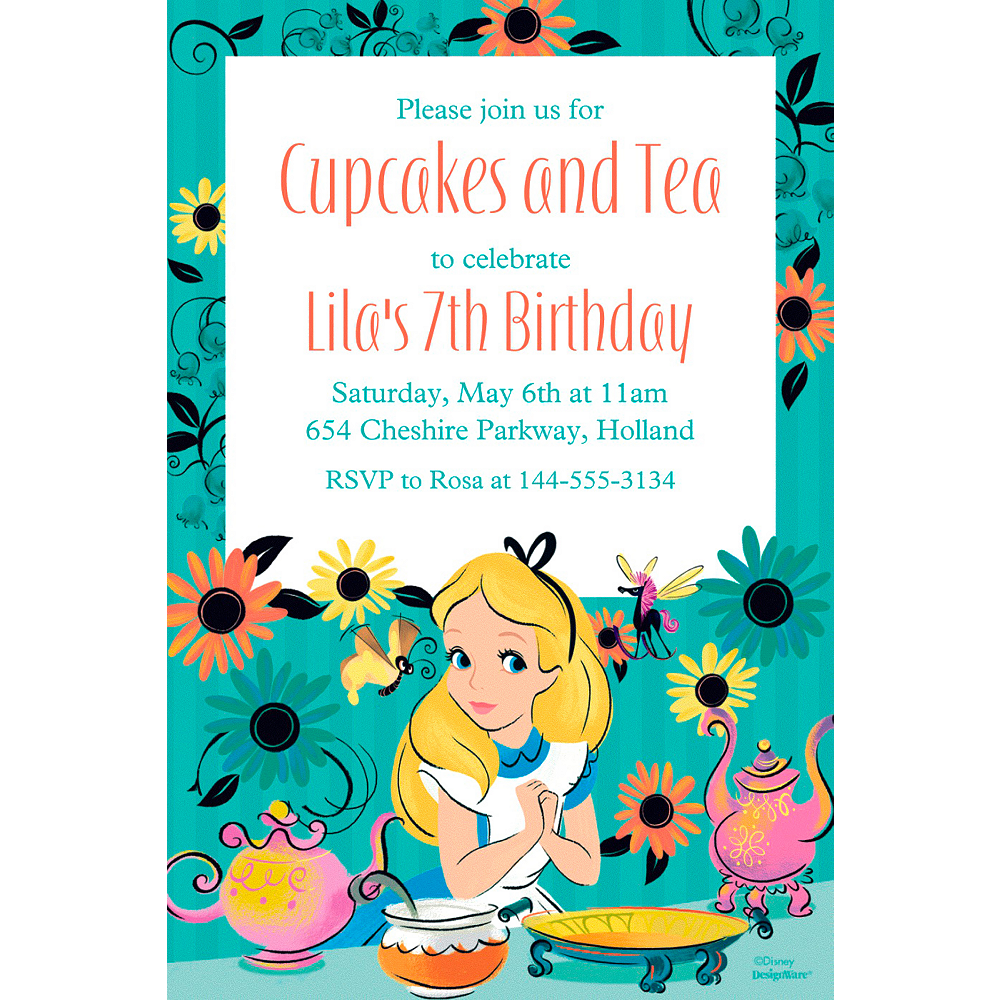 Custom Alice in Wonderland Invitation Image #1