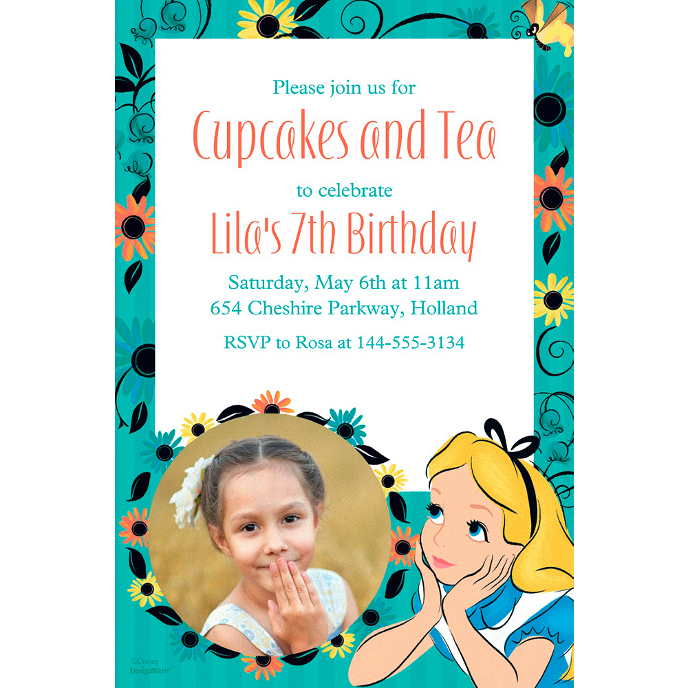 Custom Alice in Wonderland Photo Invitation | Party Supplies | Party ...