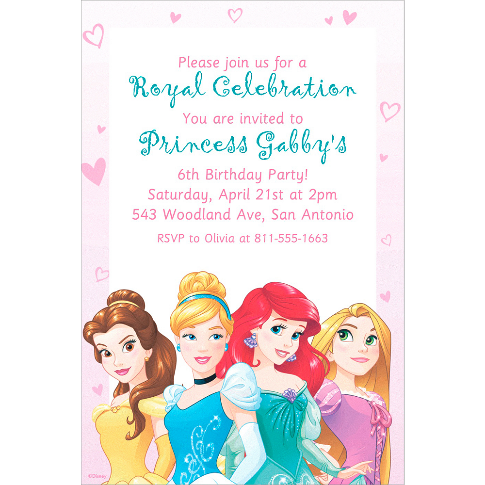 Custom Disney Princess Invitation Image 1