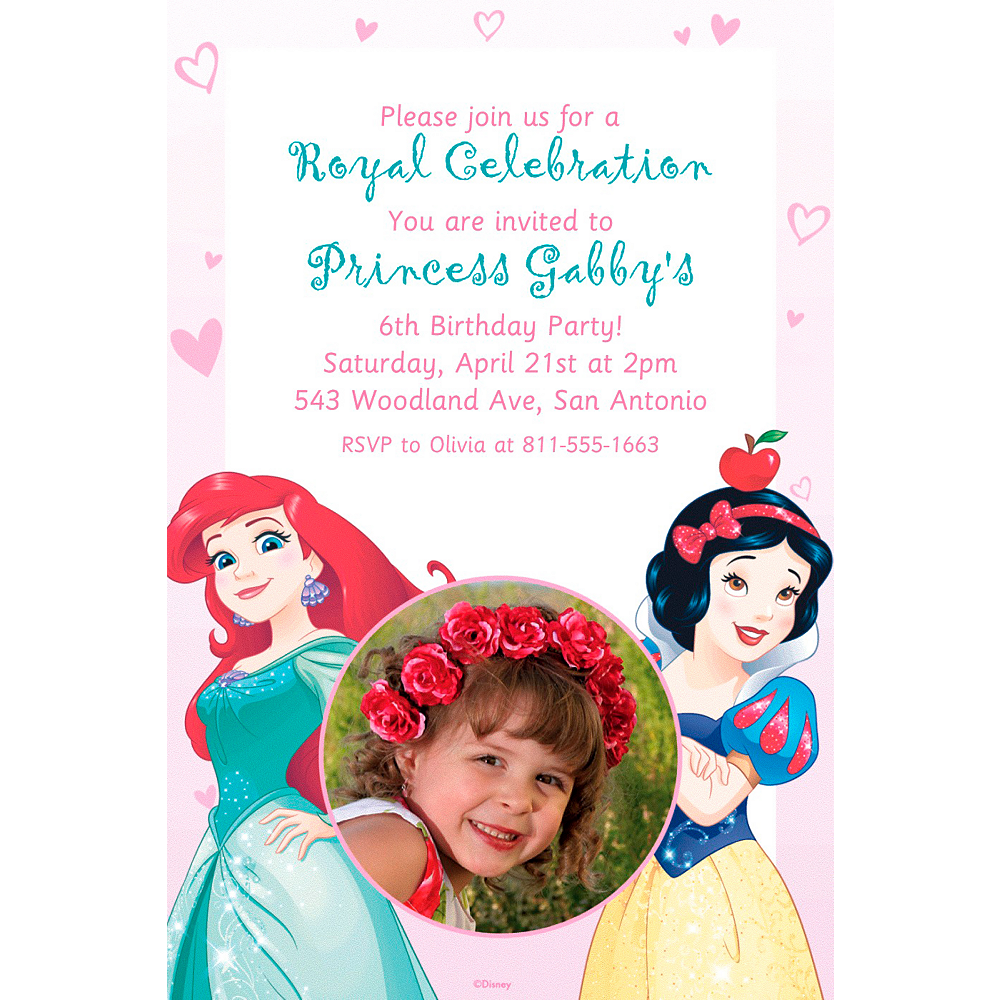 Custom Disney Princess Photo Invitation Image 1
