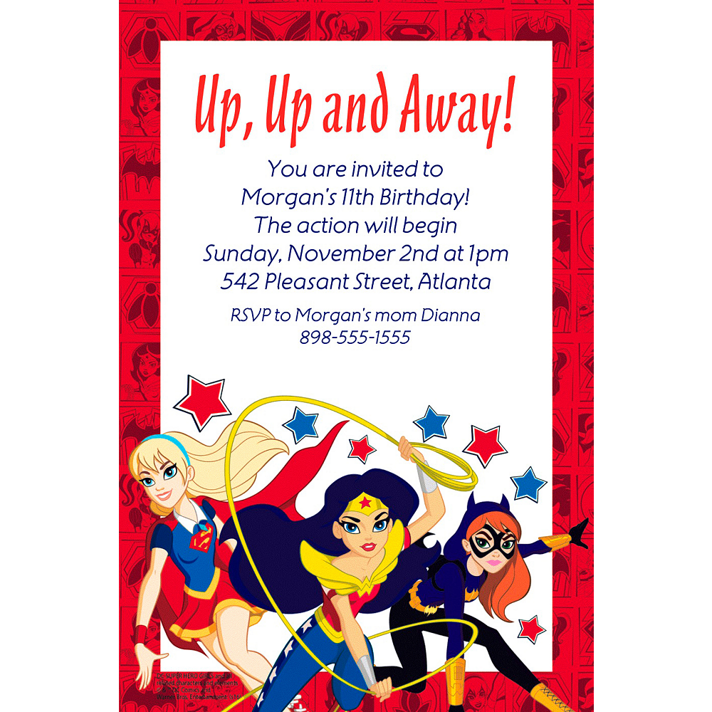 Custom DC Super Hero Girls Invitation Image 1