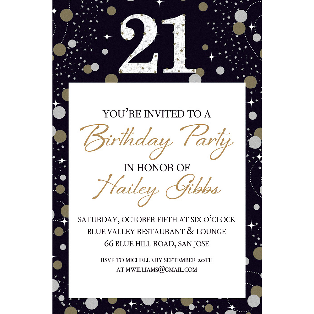 Custom Sparkling Celebration 21 Invitation Image #1