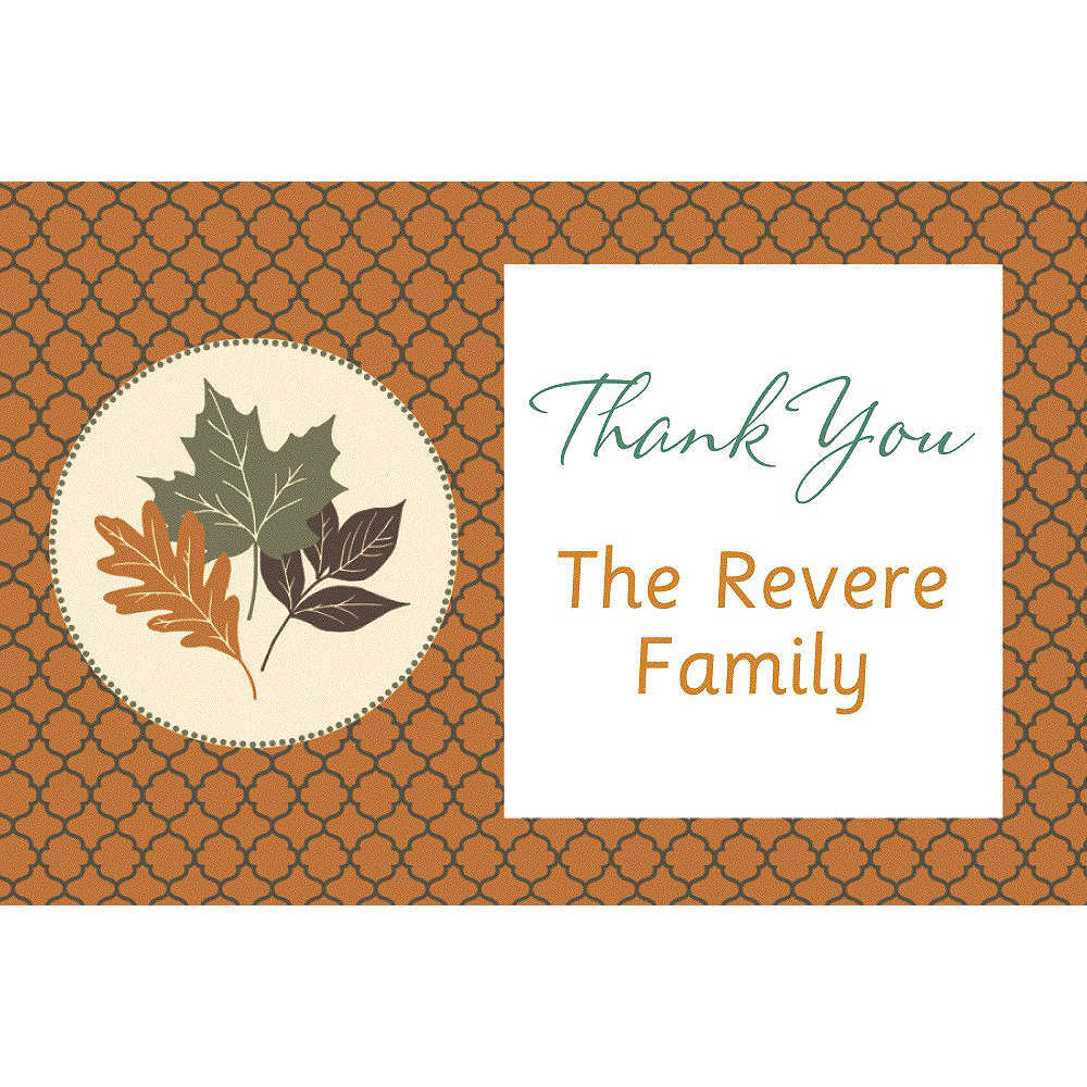 Custom Copper Leaves Thank You Note Image #1