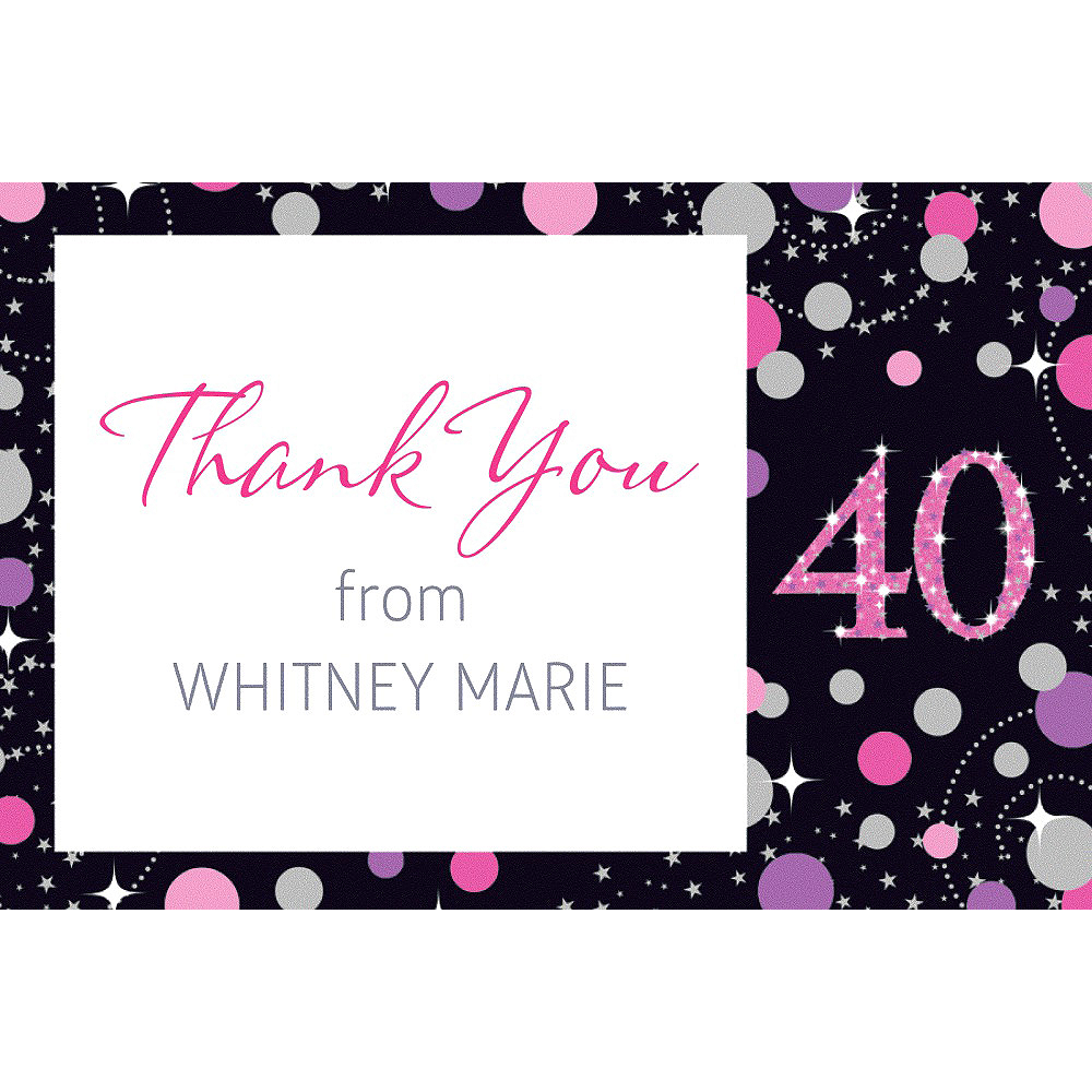 Nav Item for Custom Pink Sparkling Celebration 40 Thank You Note Image #1