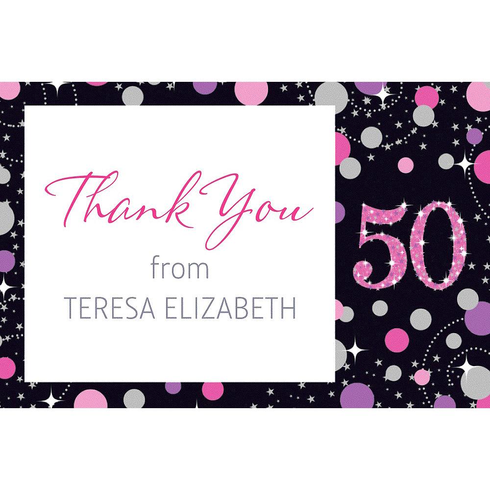 Custom Pink Sparkling Celebration 50 Thank You Note Image #1