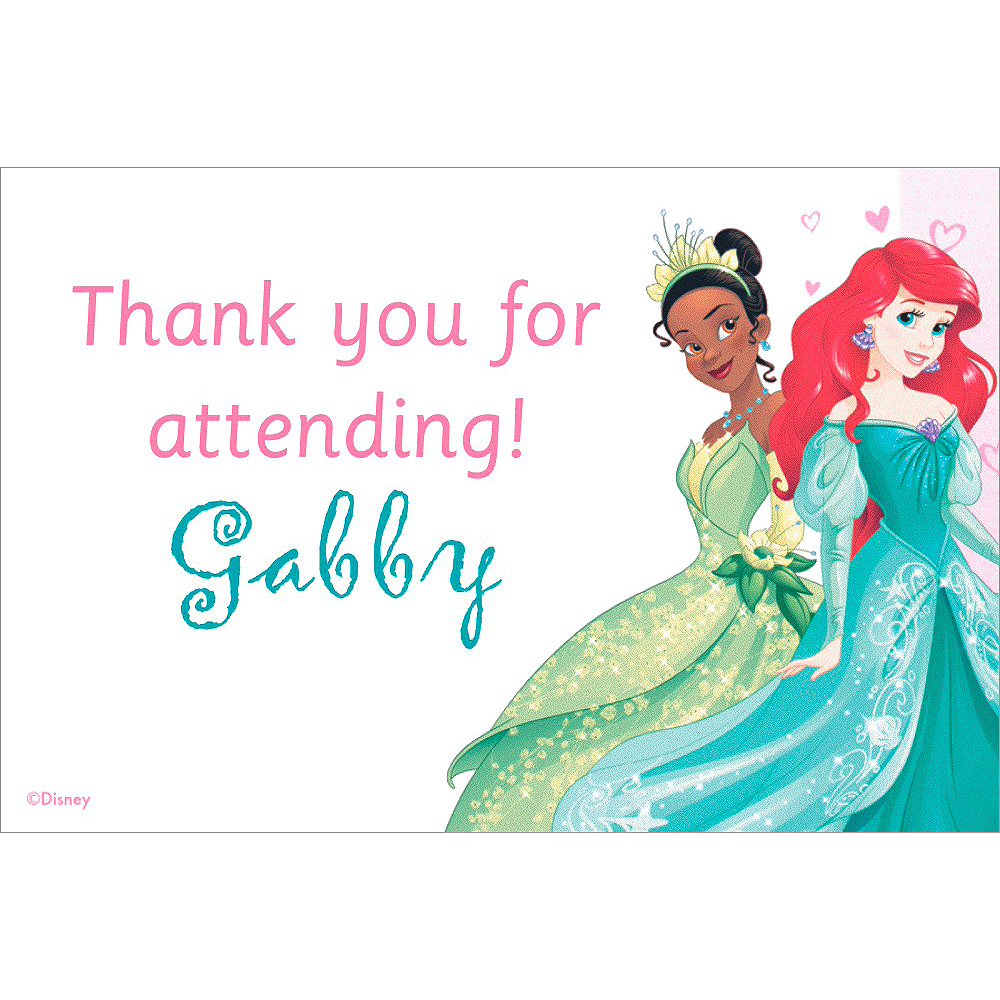 custom disney princess thank you note disney princess party