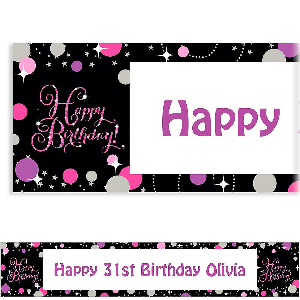 Custom Pink Sparkling Celebration Birthday Banner Image #1