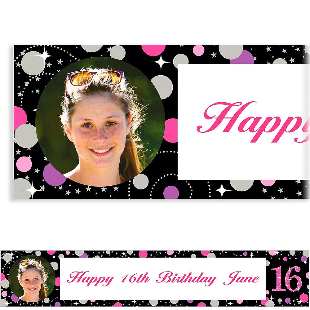 Custom Pink Sparkling Celebration 16 Photo Banner Image #1