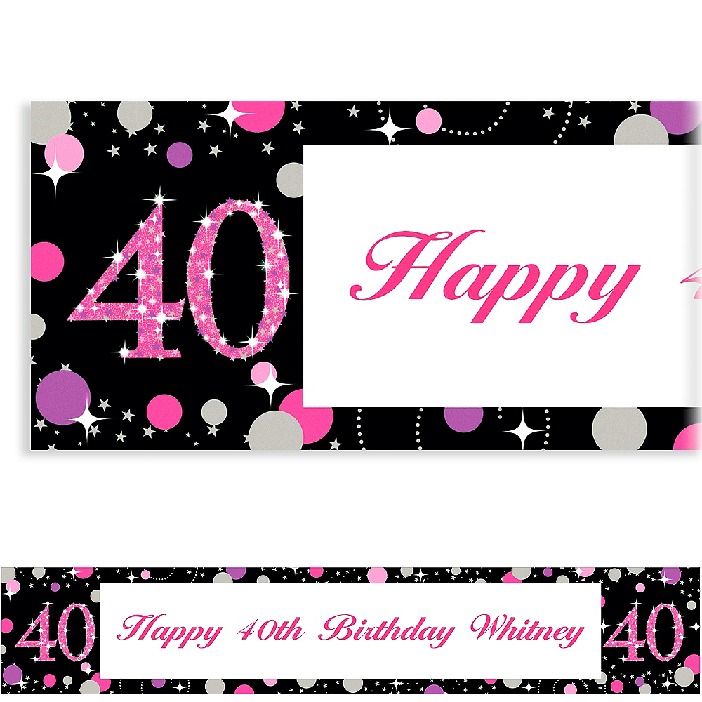 Custom Pink Sparkling Celebration 40 Banner Image #1