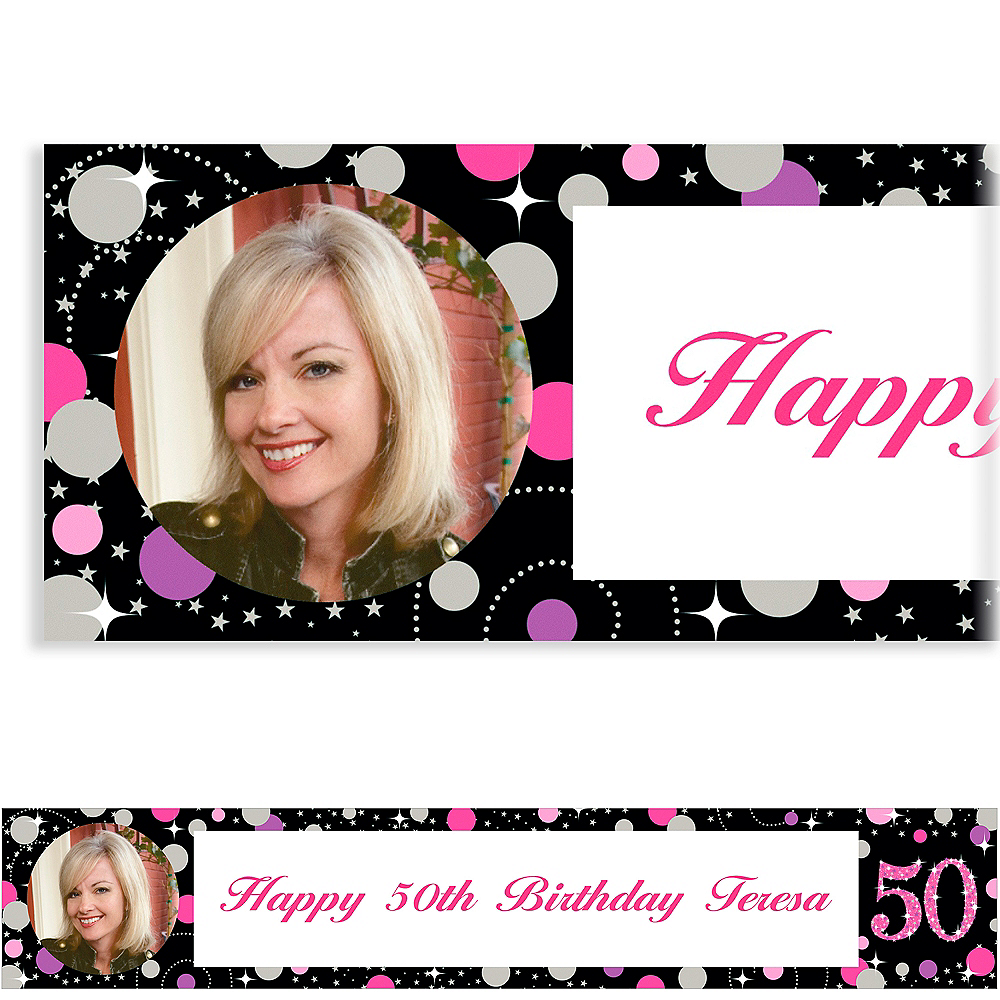 Custom Pink Sparkling Celebration 50 Photo Banner Image #1