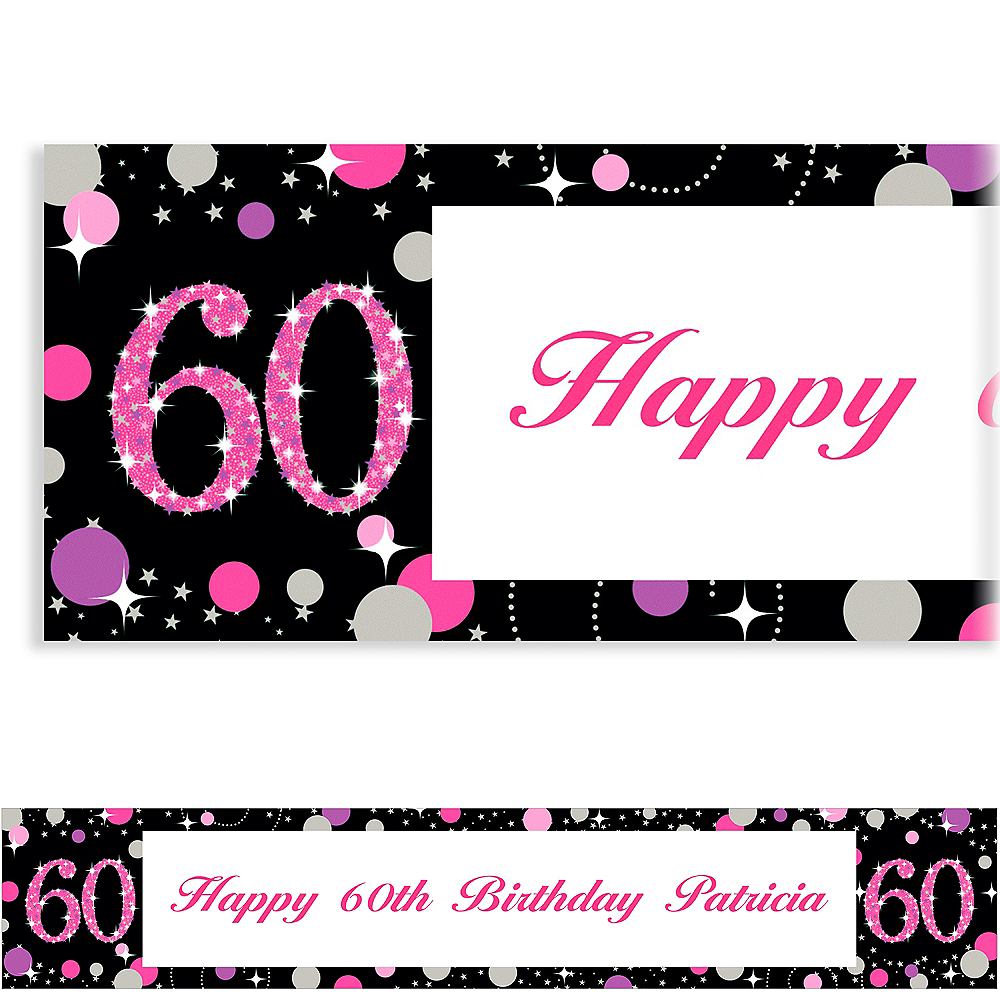 Custom Pink Sparkling Celebration 60 Banner Image #1