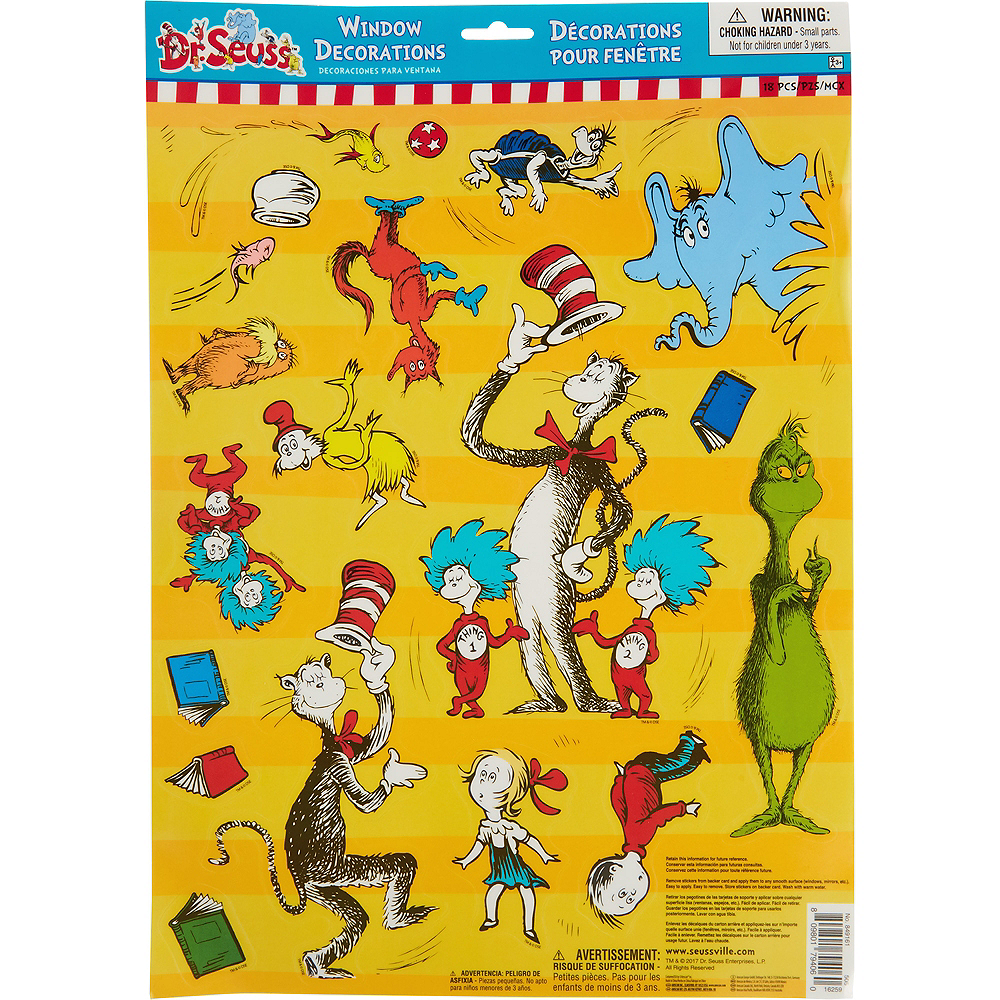 Dr. Seuss Cling Decals 18ct | Party City