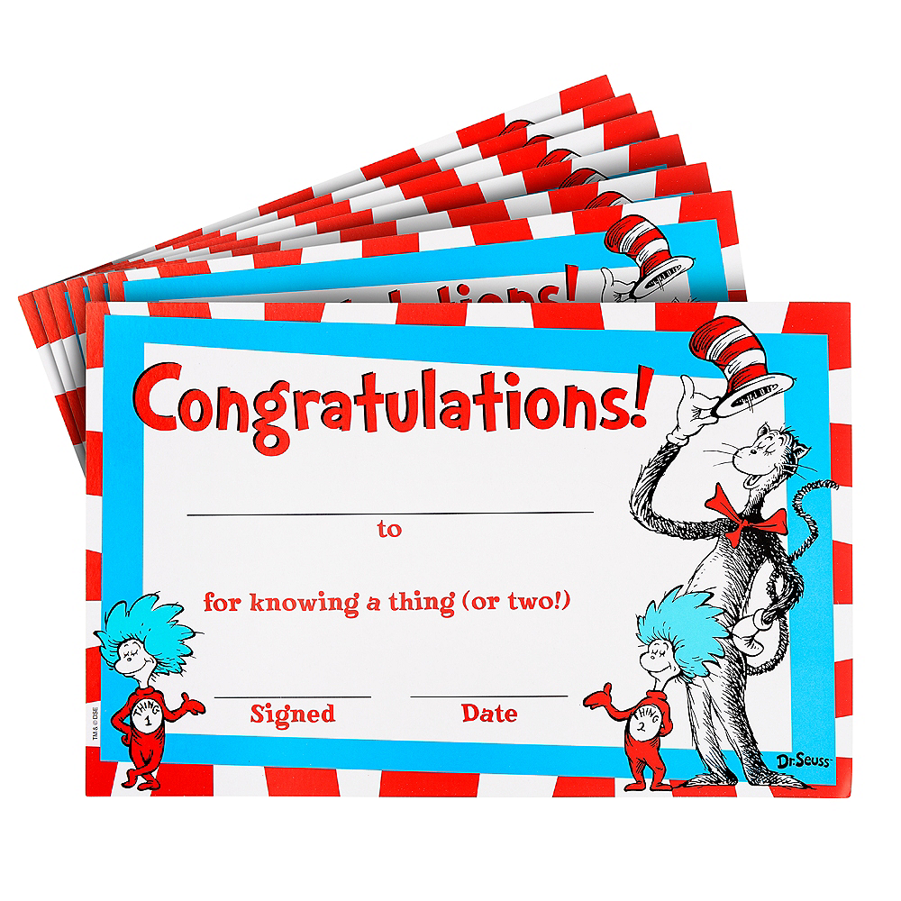 Cat in the Hat Certificates 36ct - Dr. Seuss | Party City