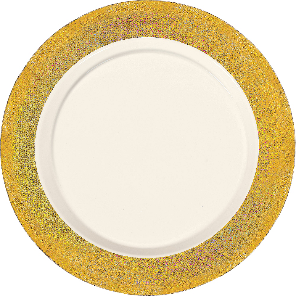 Cream Prismatic Gold Border Premium Plastic Dinner Plates 10ct Image #1