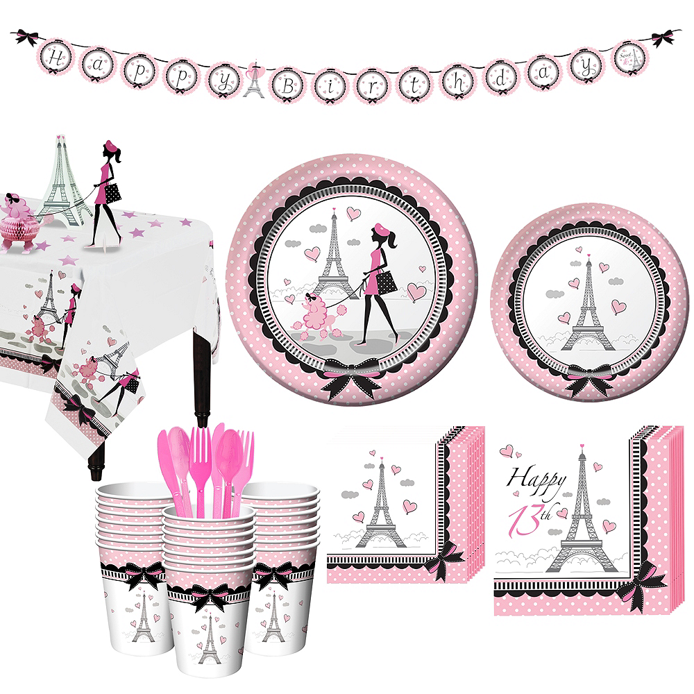 Pink Paris 13th Birthday Party Kit for 32 Guests Image #1