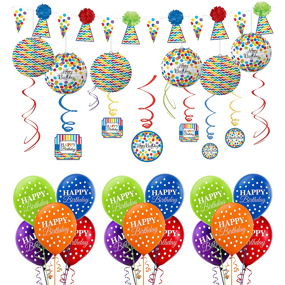 Rainbow Dot & Chevron Birthday Decorating Kit with Balloons Image #1