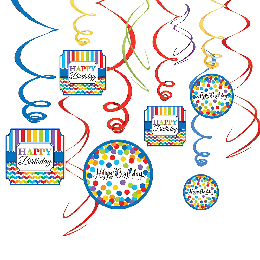 Rainbow Dot & Chevron Birthday Decorating Kit with Balloons Image #3