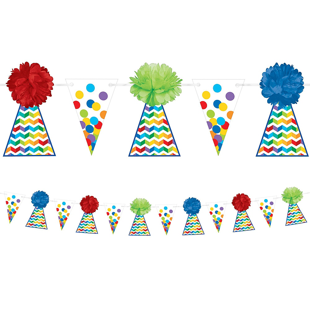 Rainbow Dot & Chevron Birthday Decorating Kit with Balloons Image #4