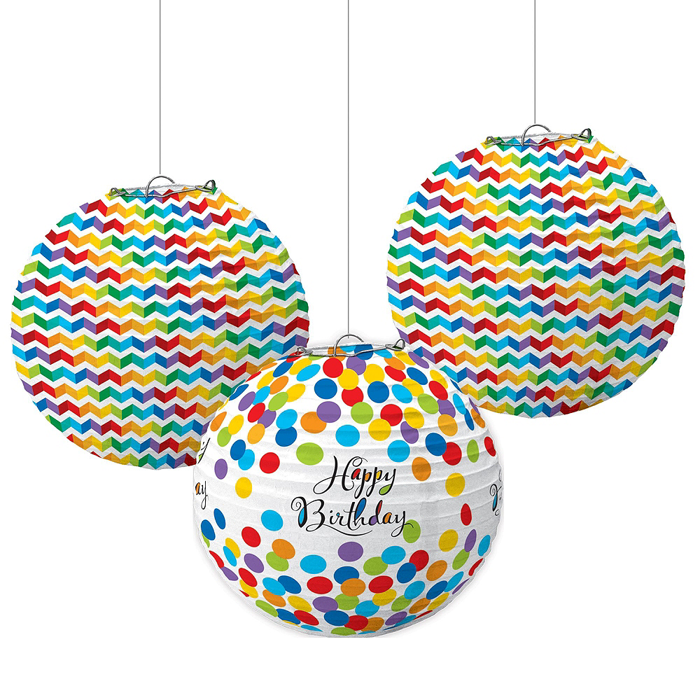 Rainbow Dot & Chevron Birthday Decorating Kit with Balloons Image #5