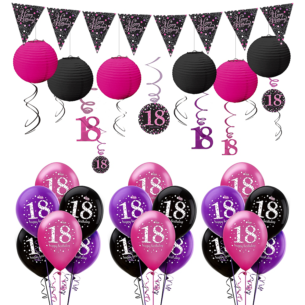 Nav Item For Pink Sparkling Celebration 18th Decorating Kit With Balloons Image 1