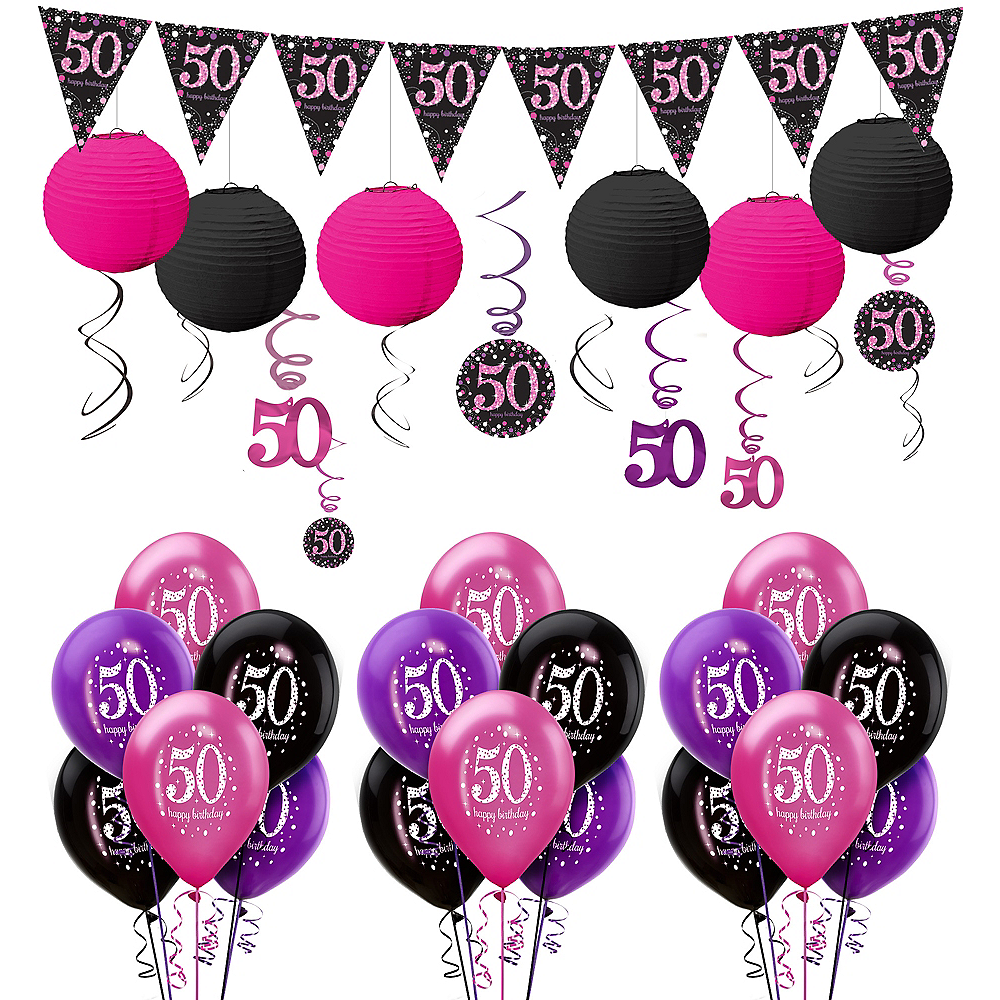 Nav Item For Pink Sparkling Celebration 50th Decorating Kit With Balloons Image 1