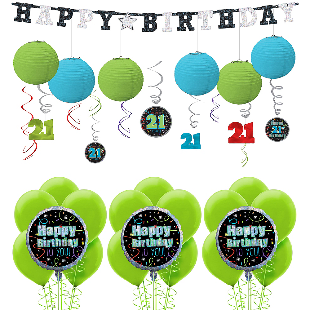 Brilliant 21st Birthday Decorating Kit with Balloons Image #1