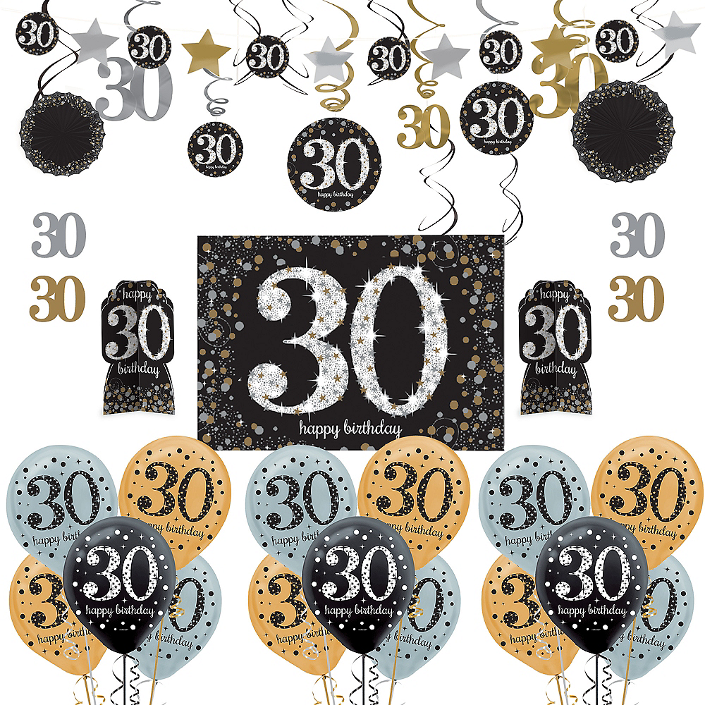 Nav Item For Sparkling Celebration 30th Birthday Decorating Kit With Balloons Image 1